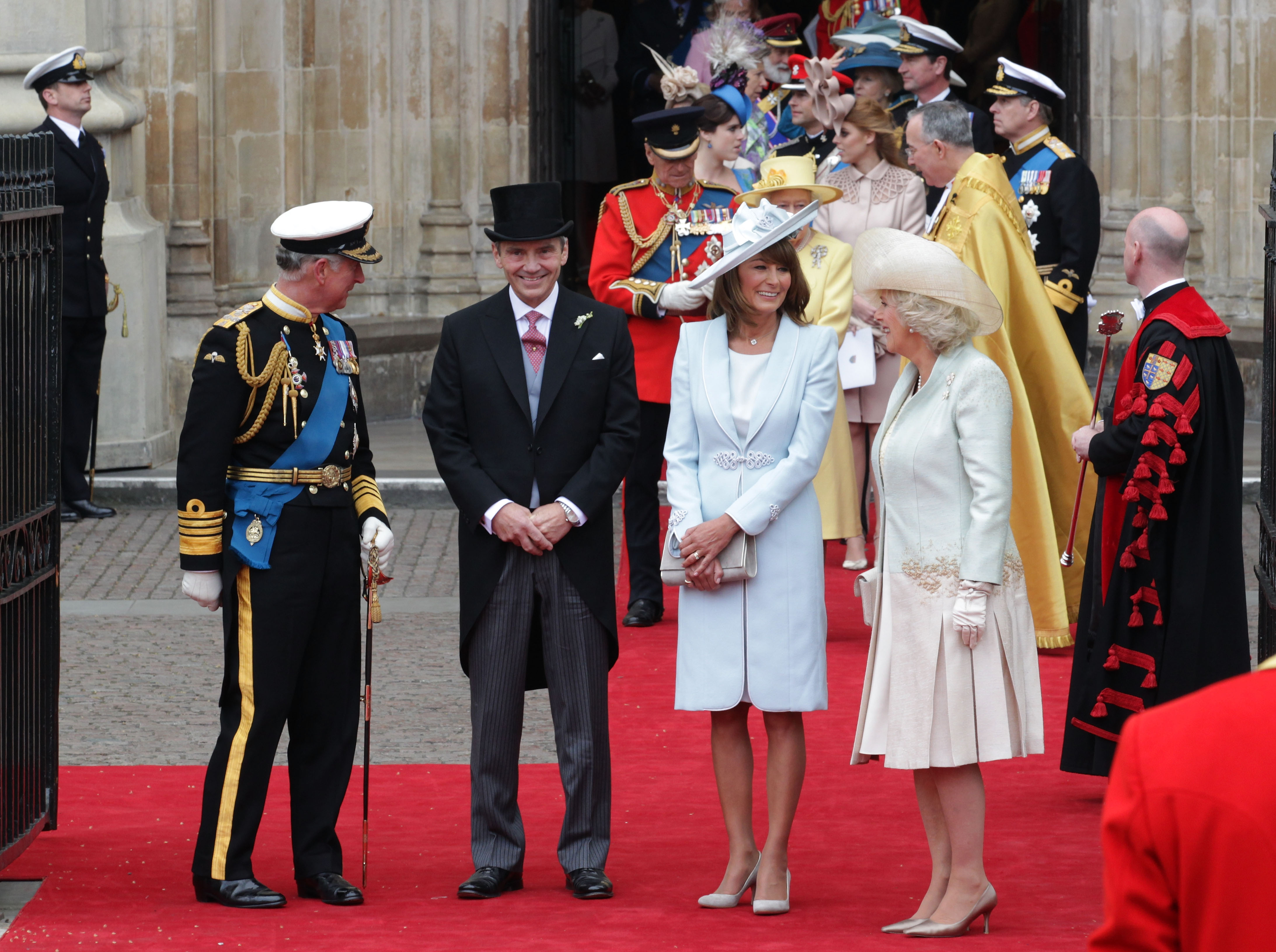 Prince Charles and Camilla with Kate's parents, Michael and Carole Middleton