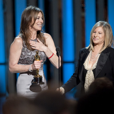 Best Director Kathryn Bigelow with presenter Barbra Streisand