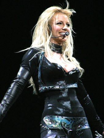 Smiling on stage during her �In the Zone� tour.