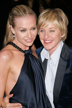 Host of the Oscars, Ellen Degeneres with partner Portia DeRossi