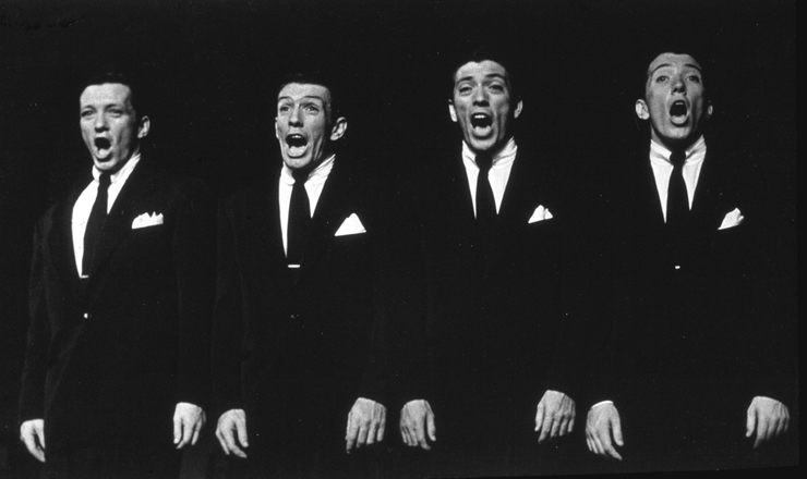 Andy Williams (far R) and his brothers performing when they were the singing group The William Brothers.