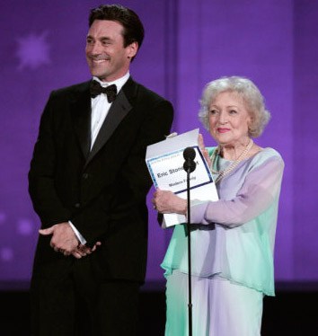Presenters Jon Hamm and Betty White