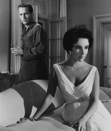 With Paul Newman in <i>Cat on a Hot Tin Roof</i> in 1958.