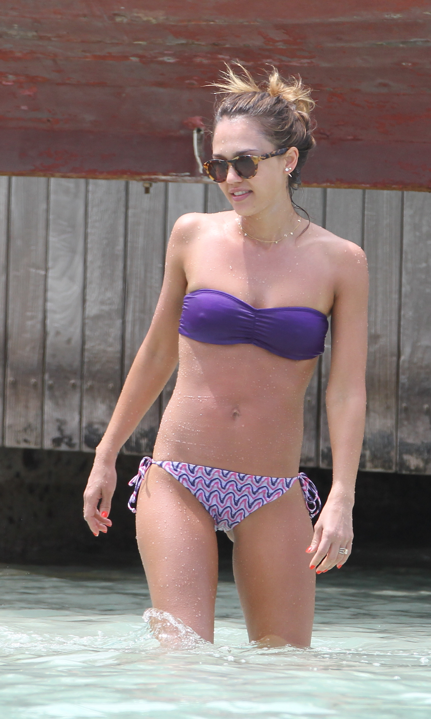 Jessica Alba looking stunning in a bikini on her Caribbean vacation.