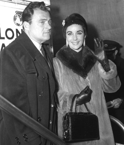 Elizabeth Taylor with husband #3, film producer Mike Todd who died in a plane crash.