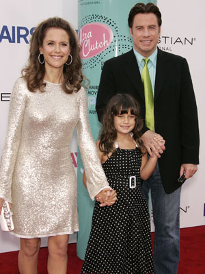 JOHN TRAVOLTA with wife KELLY PRESTON and daughter ELLA BLEU at the <i>Hairspray</i> premiere.
